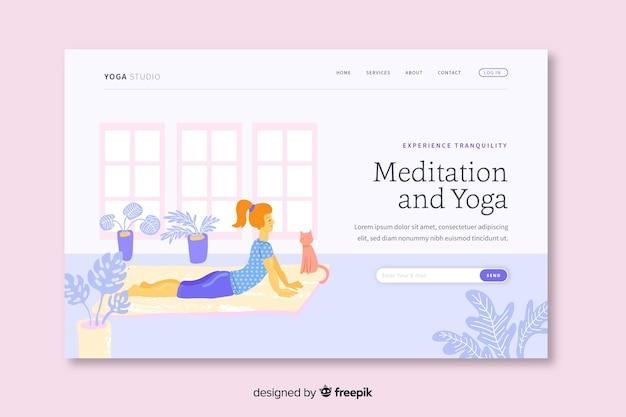 Modelo de página de aterragem de meditação e ioga