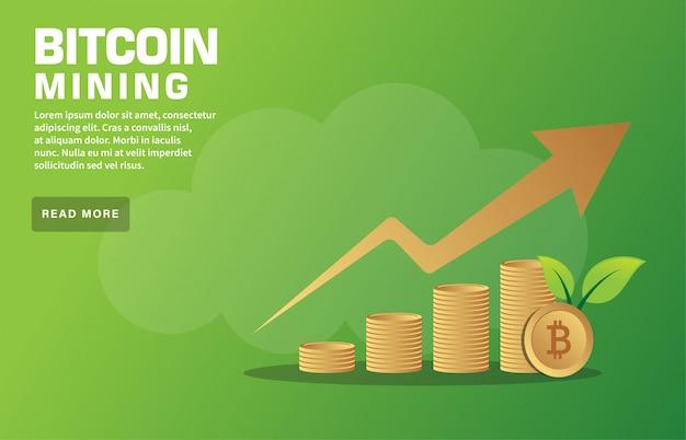Modelo de página de aterragem de mineração bitcoin