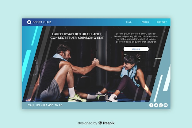 Modelo de página de aterragem do esporte com foto