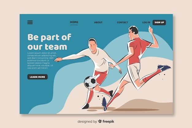 Modelo de página de aterragem do futebol desenhada de mão
