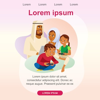 Modelo de página de aterragem feliz família muçulmana vector