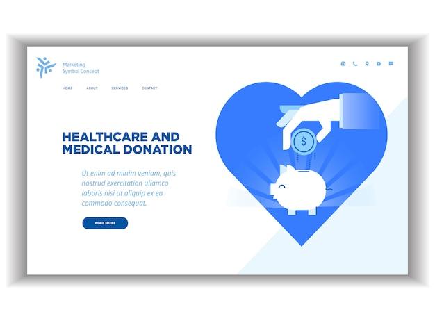 Modelo de página de aterragem moderna plana sobre cuidados de saúde
