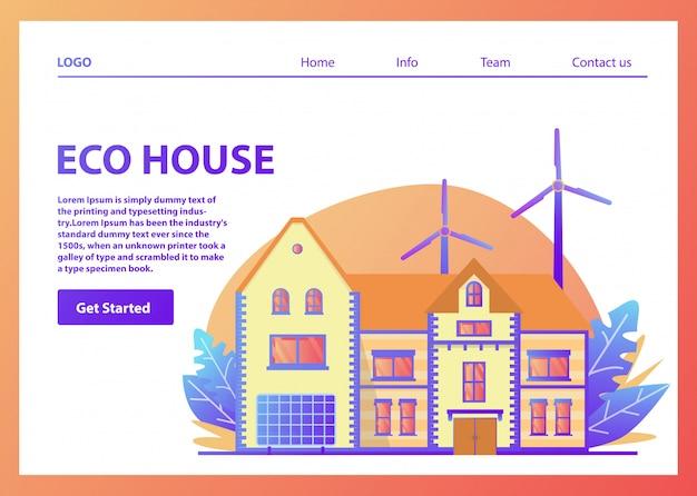 Modelo de página de aterrissagem. casa americana suburbana amigável de eco de energia verde. painel solar, turbina de energia eólica. página da web. modelo de site.