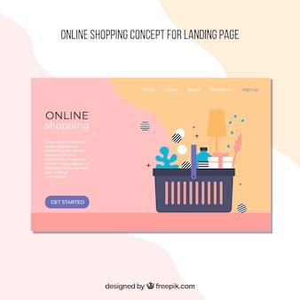 Modelo de página de aterrissagem com conceito de compras
