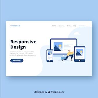 Modelo de página de aterrissagem com conceito de design responsivo