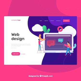 Modelo de página de aterrissagem com conceito de design web