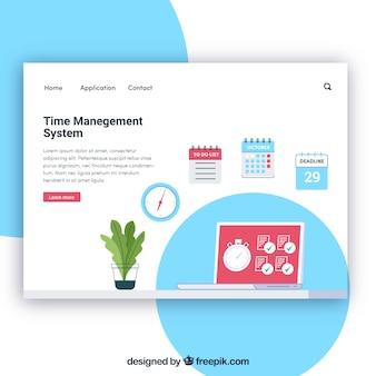 Modelo de página de aterrissagem com conceito de gerenciamento de tempo
