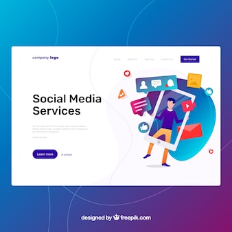 Modelo de página de aterrissagem com conceito de mídia social