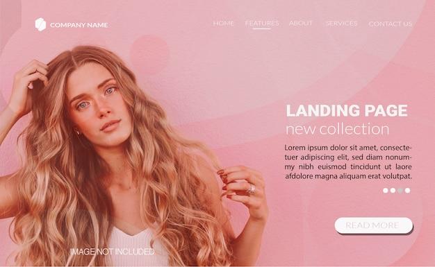 Modelo de página de aterrissagem com conceito de moda