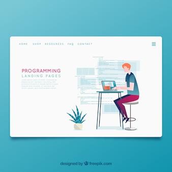 Modelo de página de aterrissagem com conceito de programação