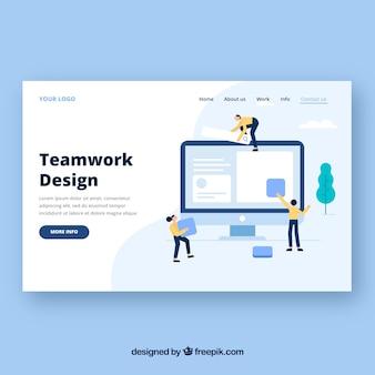 Modelo de página de aterrissagem com conceito de trabalho em equipe