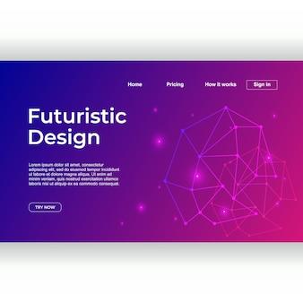 Modelo de página de aterrissagem com estilo de néon de design futurista