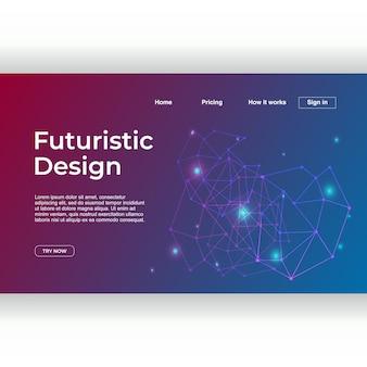 Modelo de página de aterrissagem com estilo de techno de design futurista
