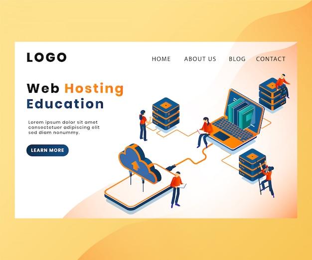 Modelo de página de aterrissagem com o conceito de arte de hospedagem na web