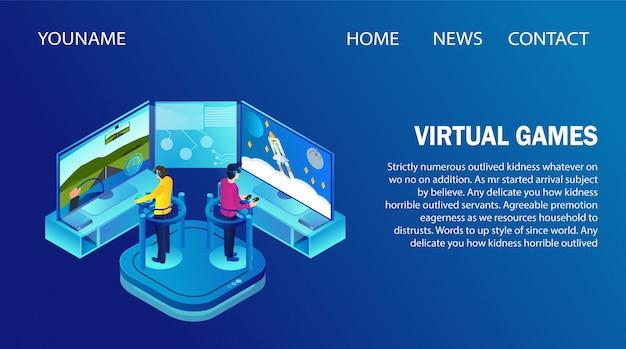 Modelo de página de aterrissagem com pessoas vestindo óculos vr jogando jogos virtuais.