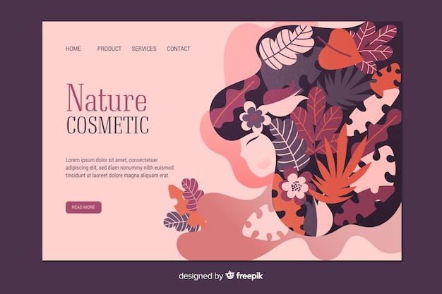 Modelo de página de aterrissagem cosmética de natureza