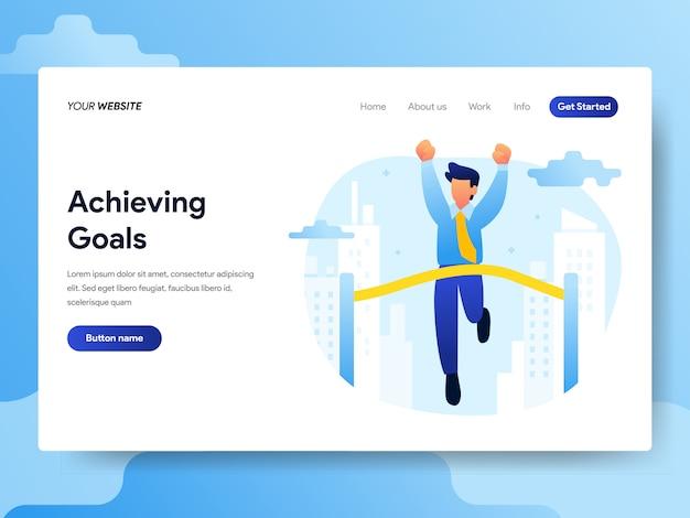 Modelo de página de aterrissagem de alcançar o conceito de metas