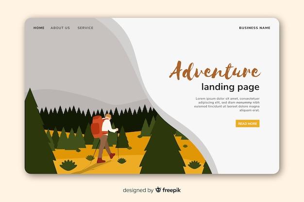 Modelo de página de aterrissagem de aventura colorida
