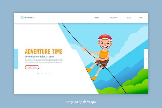 Modelo de página de aterrissagem de aventura de design plano