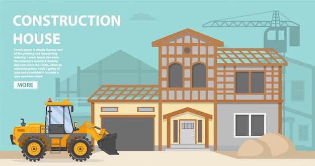 Modelo de página de aterrissagem de casa de construção