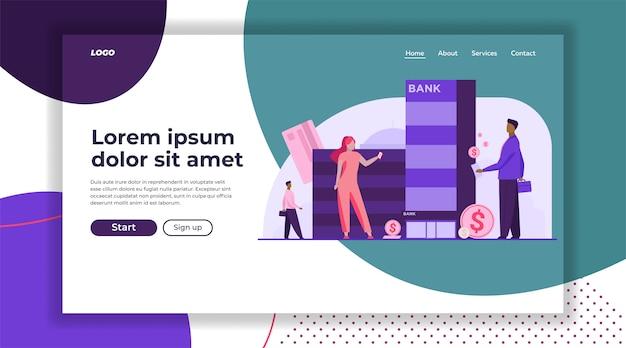 Modelo de página de aterrissagem de clientes com dinheiro em pé perto do banco