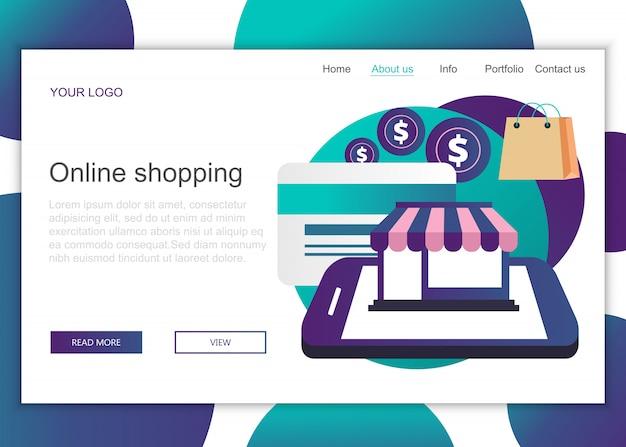 Modelo de página de aterrissagem de compras on-line