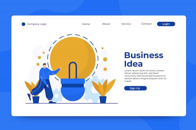 Modelo de página de aterrissagem de conceito de ideia de negócio