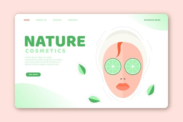Modelo de página de aterrissagem de cosméticos de natureza