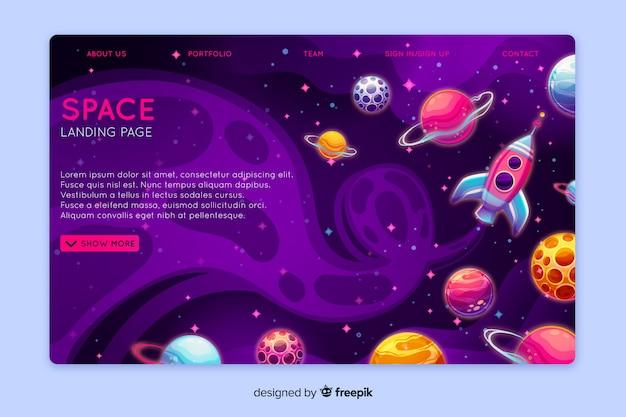 Modelo de página de aterrissagem de espaço realista