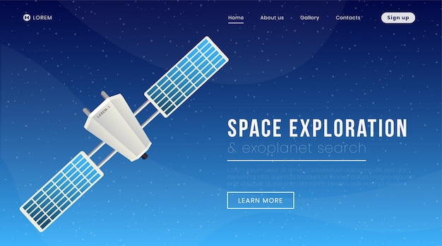 Modelo de página de aterrissagem de exploração espacial