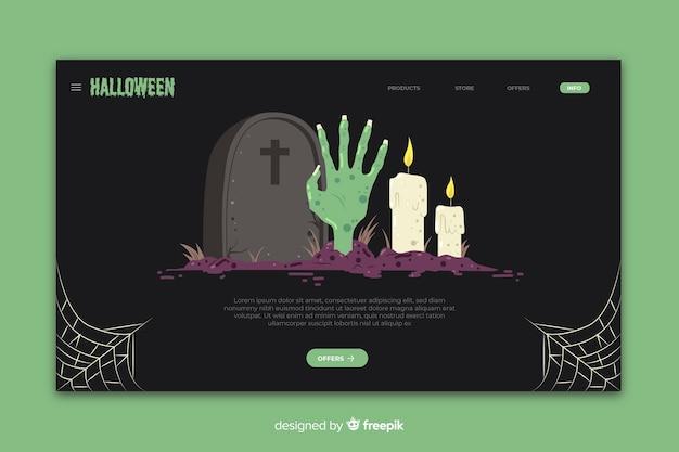 Modelo de página de aterrissagem de halloween de design plano