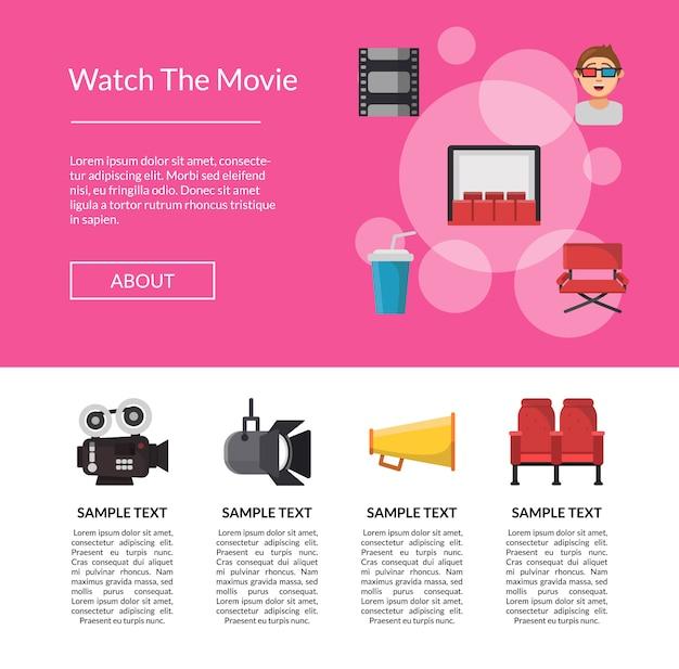 Modelo de página de aterrissagem de ícones de cinema plana