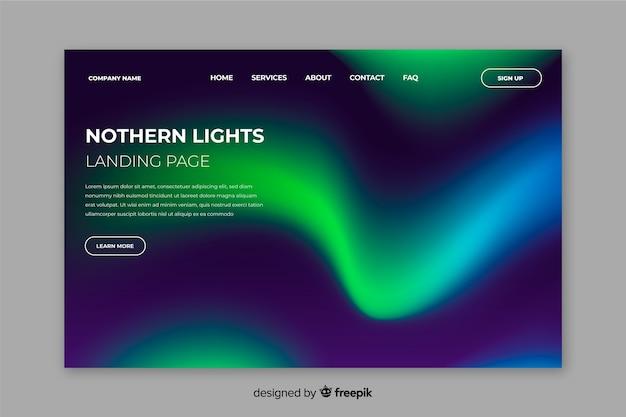 Modelo de página de aterrissagem de luzes do norte