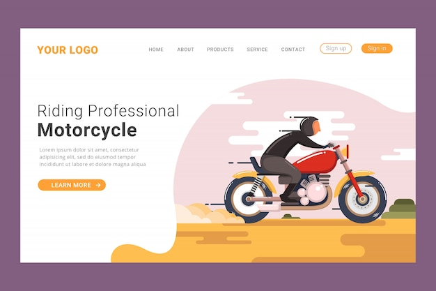 Modelo de página de aterrissagem de motocicleta profissional
