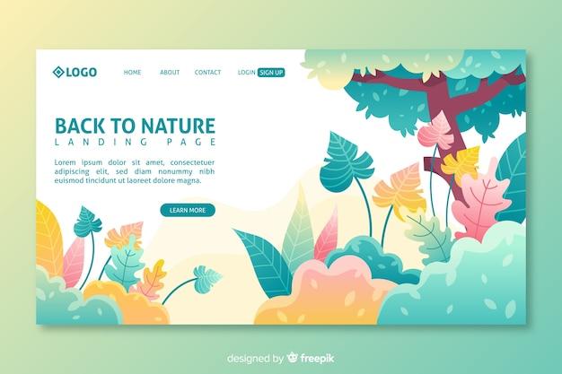 Modelo de página de aterrissagem de natureza colorido