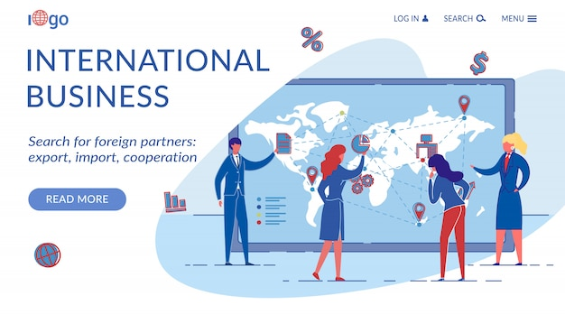 Modelo de página de aterrissagem de negócios internacionais