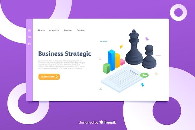 Modelo de página de aterrissagem de negócios isométrico
