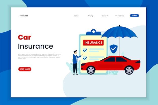 Modelo de página de aterrissagem de seguro de carro