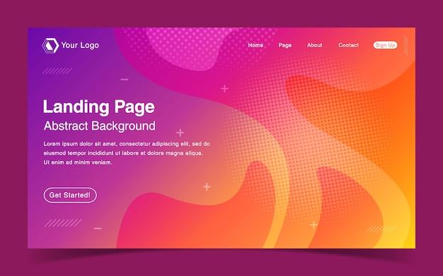Modelo de página de aterrissagem de site com fundo colorido abstrato