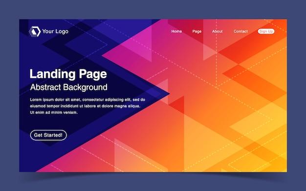 Modelo de página de aterrissagem de site com fundo laranja geométrico