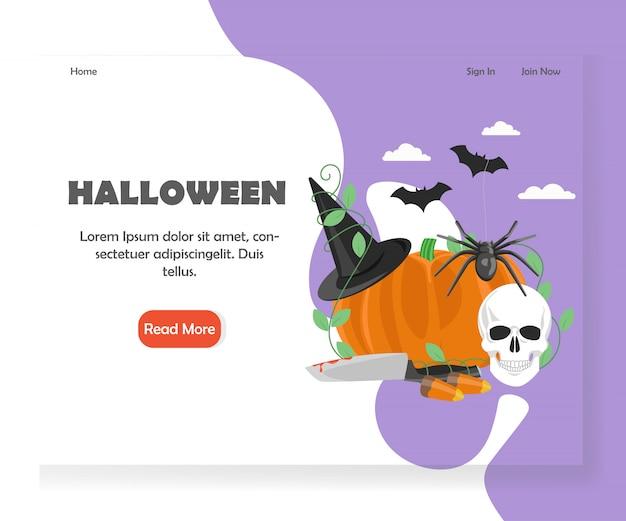 Modelo de página de aterrissagem de site de halloween