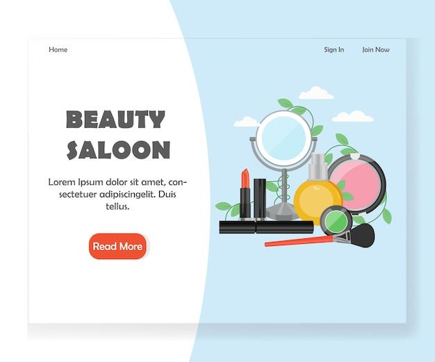 Modelo de página de aterrissagem de site de salão de beleza