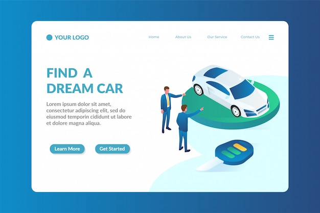 Modelo de página de aterrissagem de site isométrico de negociante de carro