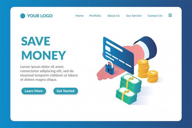 Modelo de página de aterrissagem de site isométrico para poupar dinheiro