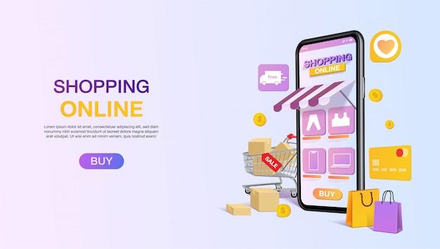 Modelo de página de aterrissagem de site on-line de compras. sacola de compras, carrinho, moedas e cartão de crédito. conceito de aplicativo de loja móvel. marketing e marketing digital. . Vetor Premium