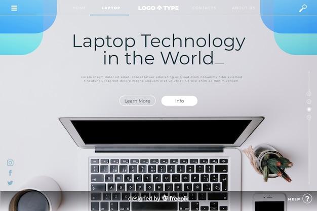 Modelo de página de aterrissagem de tecnologia com foto