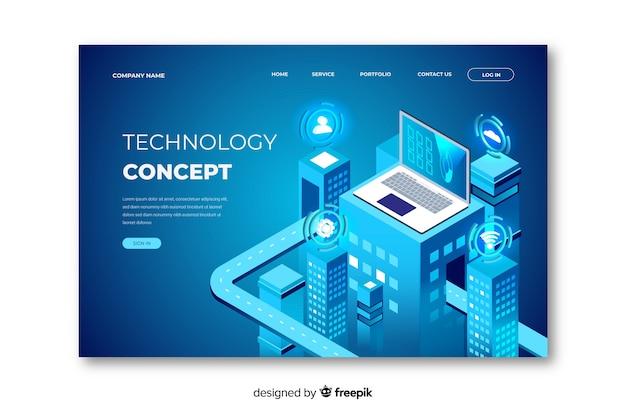 Modelo de página de aterrissagem de tecnologia de conceito