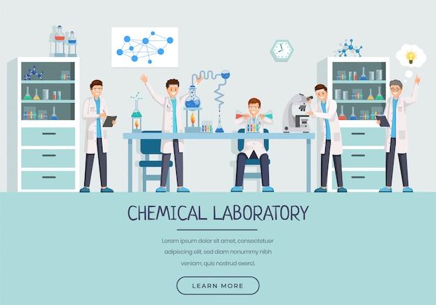 Modelo de página de aterrissagem de trabalhadores de laboratório químico