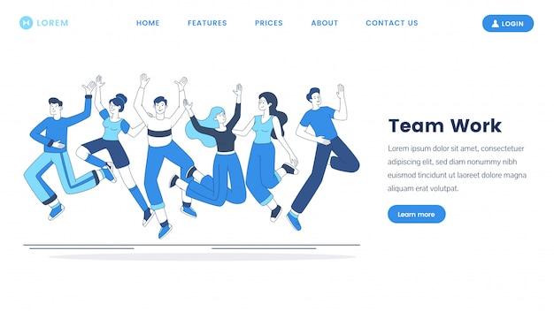 Modelo de página de aterrissagem de trabalho em equipe. team building cursos site homepage interface idéia com ilustrações de estrutura de tópicos. cooperação empresarial, conceito de desenho animado bem sucedido coworking webpage