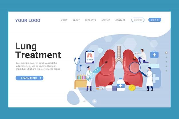 Modelo de página de aterrissagem de tratamento de saúde pulmonar